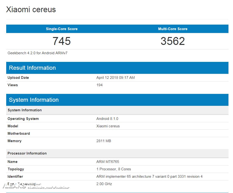 Geekbench resultaten Xiaomi Redmi 6A